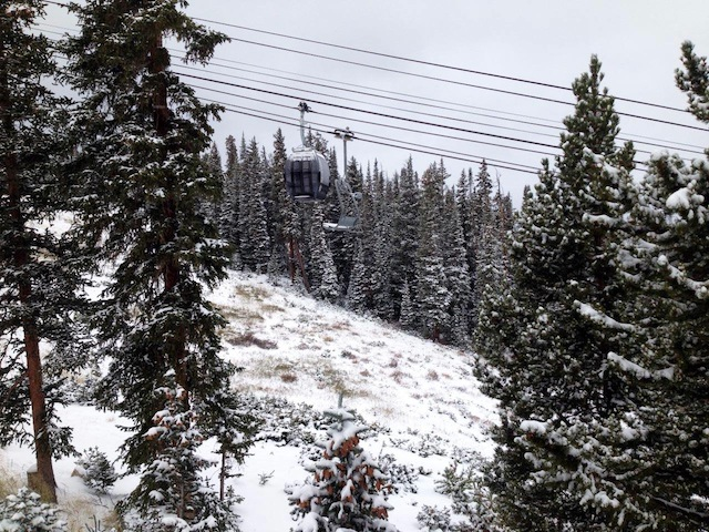 snowfall at keystone resort.